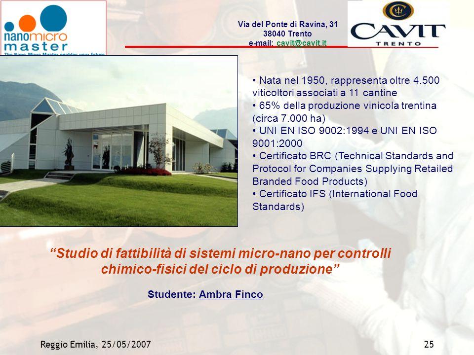 Reggio Emilia, 25/05/200725 Nata nel 1950, rappresenta oltre 4.500 viticoltori associati a 11 cantine 65% della produzione vinicola trentina (circa 7.