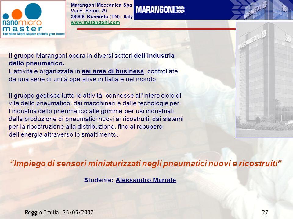 Reggio Emilia, 25/05/200727 Il gruppo Marangoni opera in diversi settori dellindustria dello pneumatico. Lattività è organizzata in sei aree di busine
