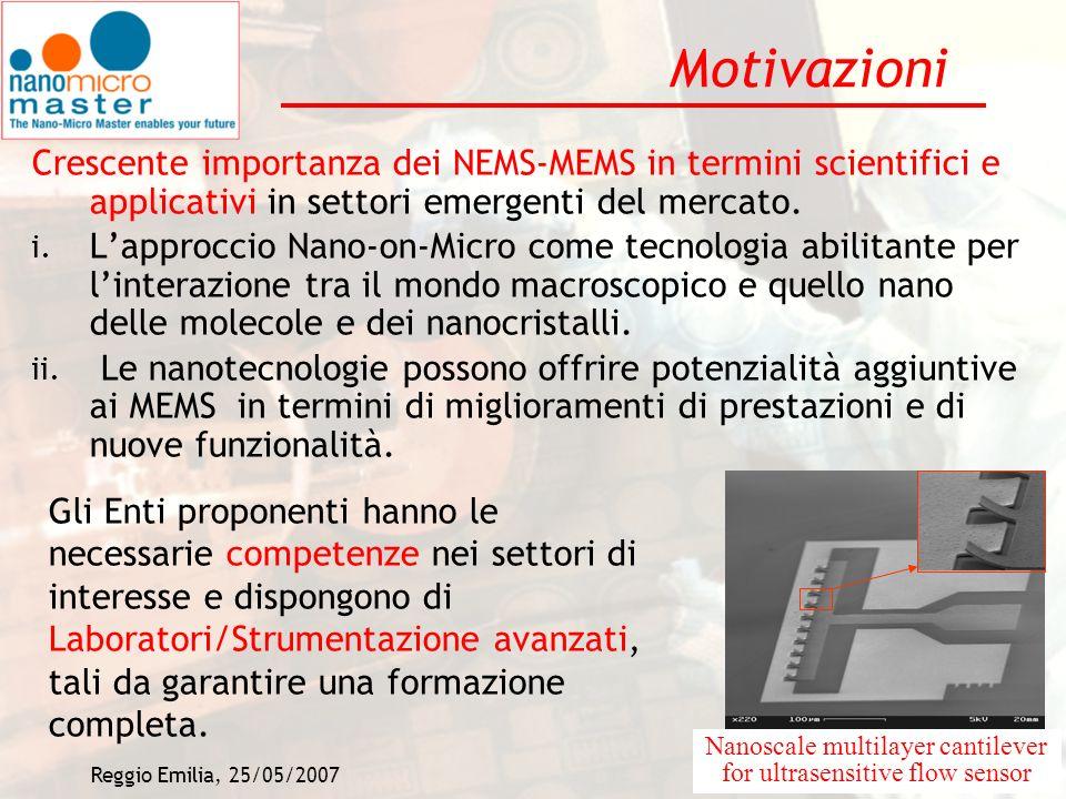 Reggio Emilia, 25/05/20073 Motivazioni Crescente importanza dei NEMS-MEMS in termini scientifici e applicativi in settori emergenti del mercato. i. La