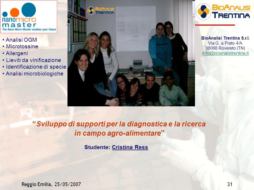 Reggio Emilia, 25/05/200731 Studente: Cristina Ress Sviluppo di supporti per la diagnostica e la ricerca in campo agro-alimentare BioAnalisi Trentina