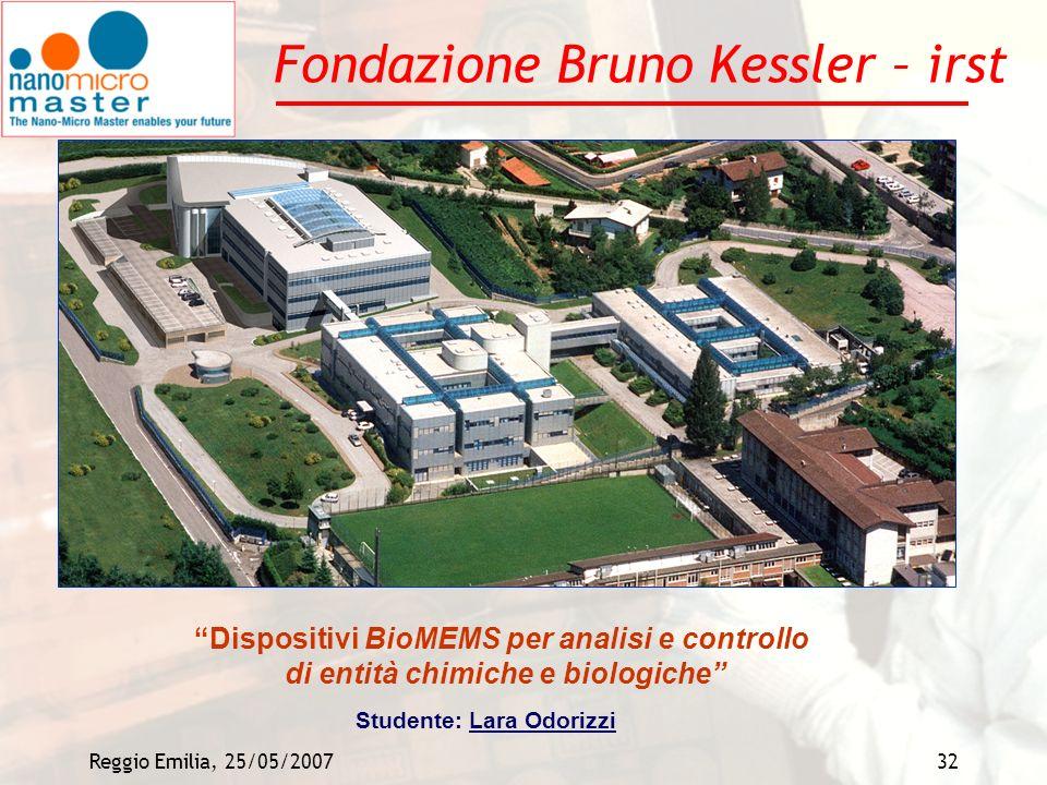 Reggio Emilia, 25/05/200732 Fondazione Bruno Kessler – irst Dispositivi BioMEMS per analisi e controllo di entità chimiche e biologiche Studente: Lara