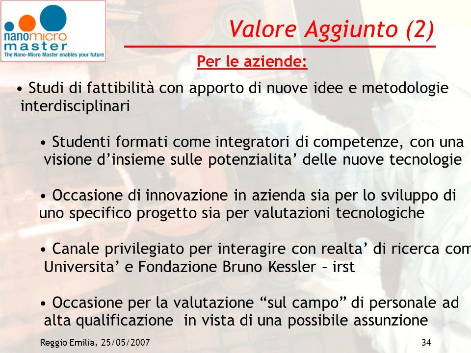 Reggio Emilia, 25/05/200734 Valore Aggiunto (2) Per le aziende: Studi di fattibilità con apporto di nuove idee e metodologie interdisciplinari Student