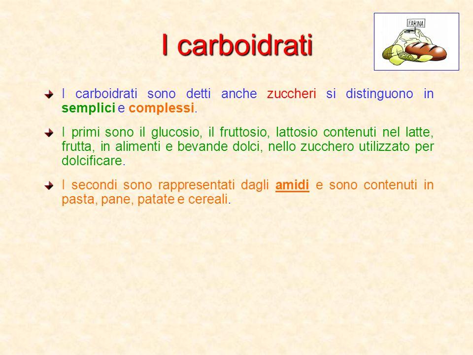 I carboidrati I carboidrati sono detti anche zuccheri si distinguono in semplici e complessi. I primi sono il glucosio, il fruttosio, lattosio contenu