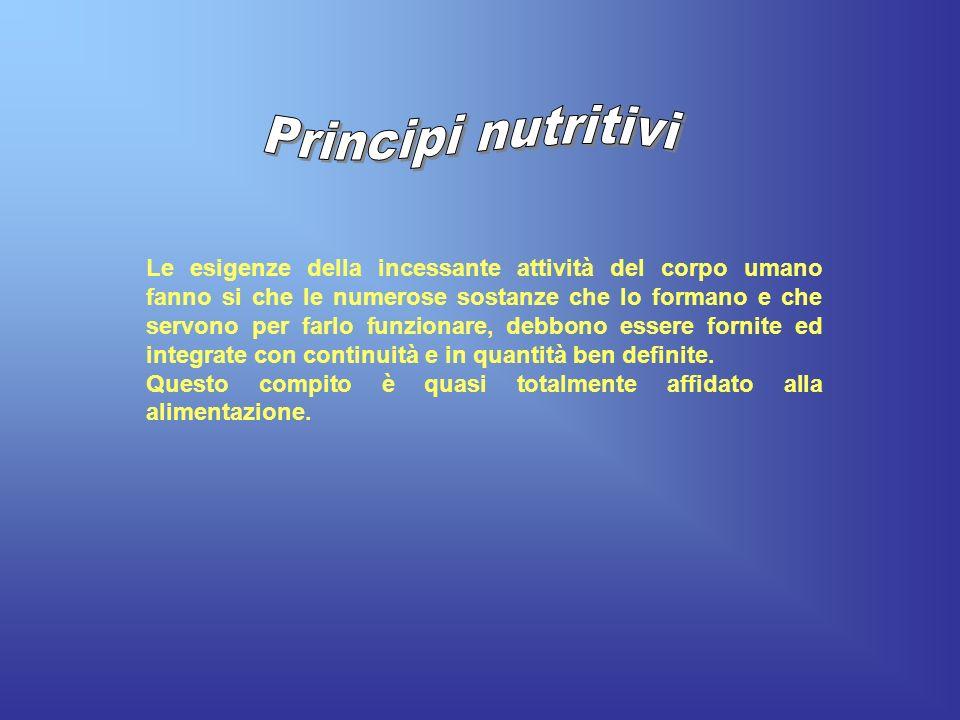 Le esigenze della incessante attività del corpo umano fanno si che le numerose sostanze che lo formano e che servono per farlo funzionare, debbono ess