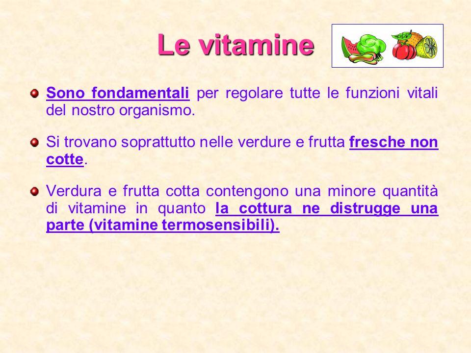 Le vitamine Sono fondamentali per regolare tutte le funzioni vitali del nostro organismo. Si trovano soprattutto nelle verdure e frutta fresche non co