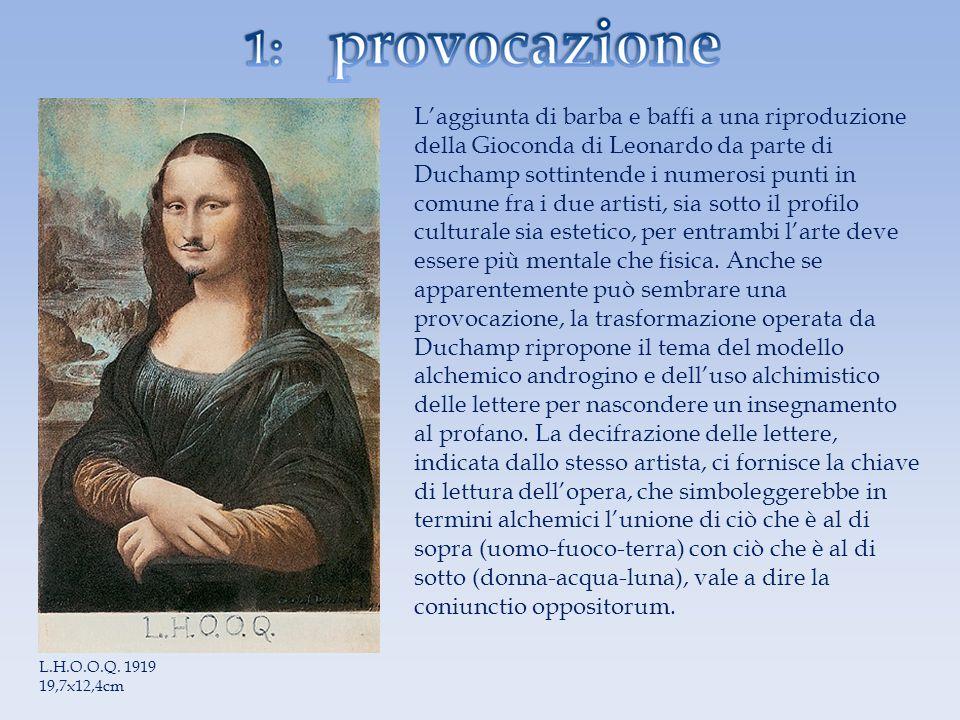 Laggiunta di barba e baffi a una riproduzione della Gioconda di Leonardo da parte di Duchamp sottintende i numerosi punti in comune fra i due artisti,