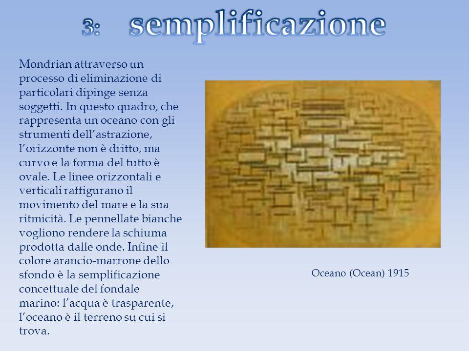 Oceano (Ocean) 1915 Mondrian attraverso un processo di eliminazione di particolari dipinge senza soggetti. In questo quadro, che rappresenta un oceano