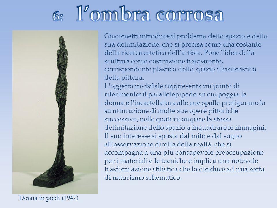 Giacometti introduce il problema dello spazio e della sua delimitazione, che si precisa come una costante della ricerca estetica dellartista. Pone l'i