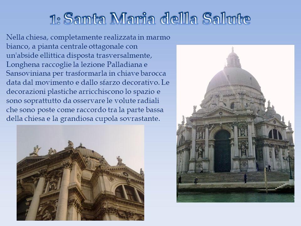 Nella chiesa, completamente realizzata in marmo bianco, a pianta centrale ottagonale con un'abside ellittica disposta trasversalmente, Longhena raccog