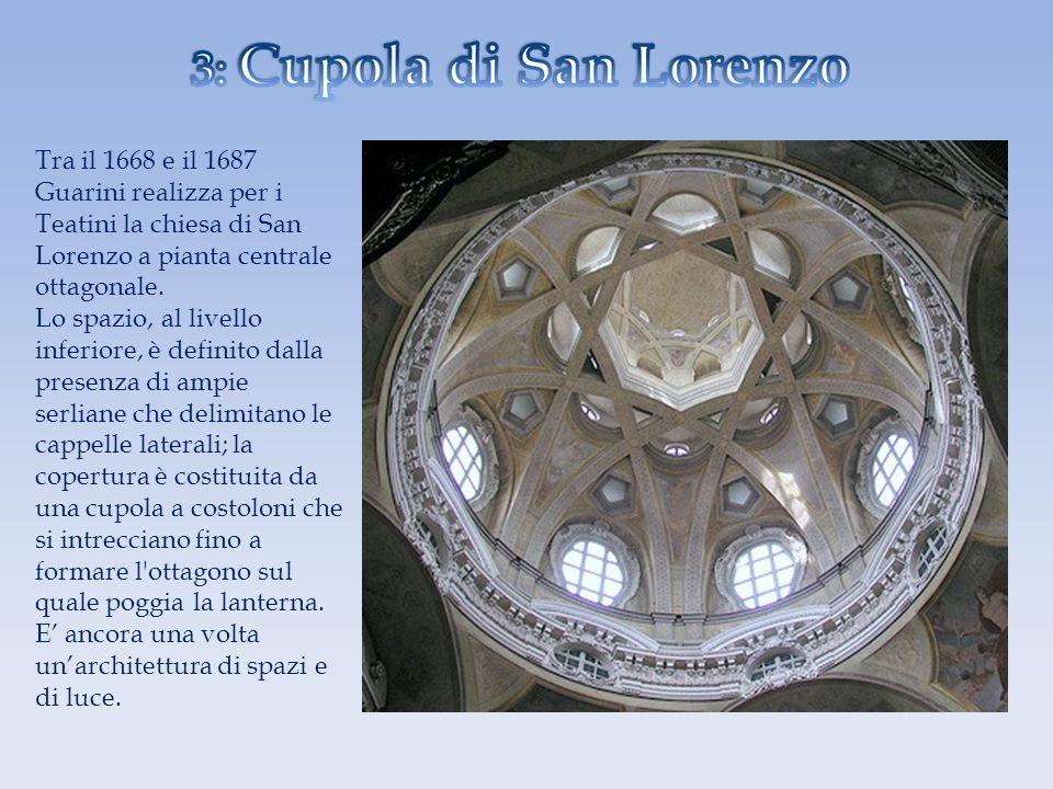 Tra il 1668 e il 1687 Guarini realizza per i Teatini la chiesa di San Lorenzo a pianta centrale ottagonale. Lo spazio, al livello inferiore, è definit