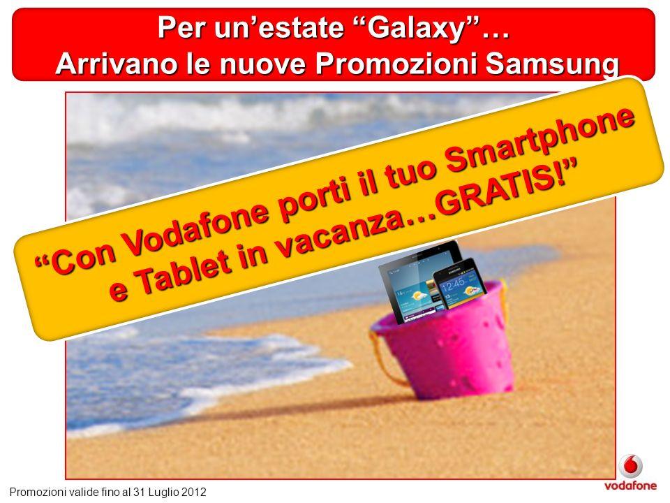 Per unestate Galaxy… Arrivano le nuove Promozioni Samsung Arrivano le nuove Promozioni Samsung Promozioni valide fino al 31 Luglio 2012 Con Vodafone porti il tuo Smartphone e Tablet in vacanza…GRATIS!