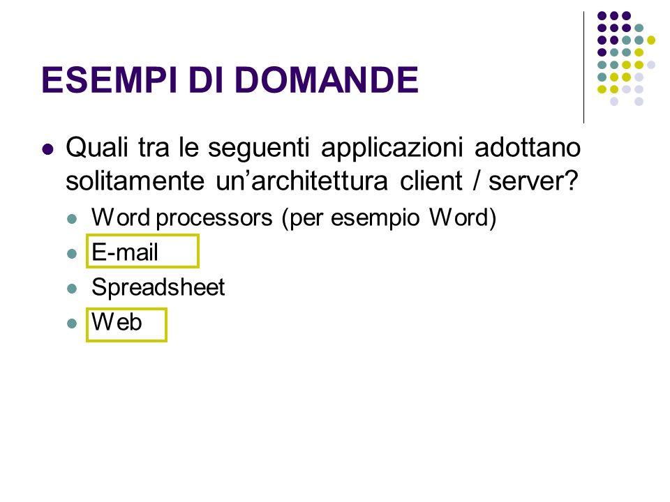 ESEMPI DI DOMANDE Quali tra le seguenti applicazioni adottano solitamente unarchitettura client / server? Word processors (per esempio Word) E-mail Sp