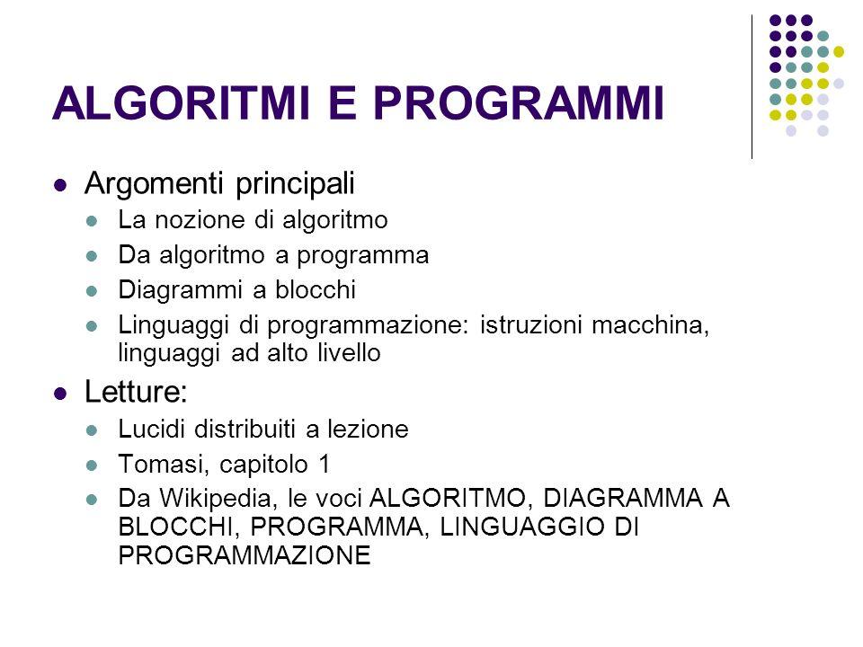 ALGORITMI E PROGRAMMI Argomenti principali La nozione di algoritmo Da algoritmo a programma Diagrammi a blocchi Linguaggi di programmazione: istruzion
