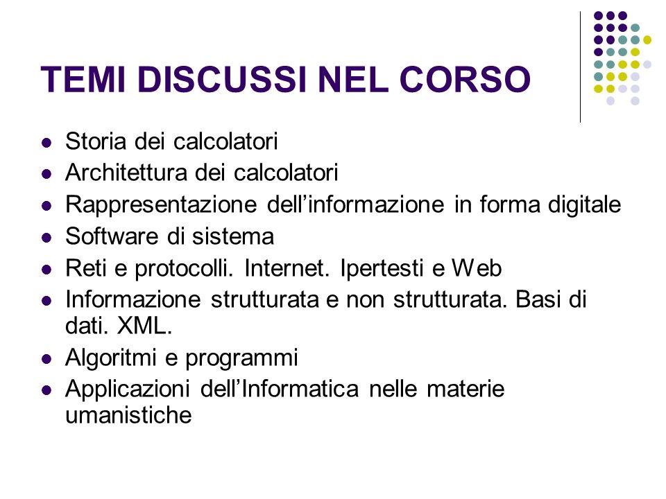 TEMI DISCUSSI NEL CORSO Storia dei calcolatori Architettura dei calcolatori Rappresentazione dellinformazione in forma digitale Software di sistema Re