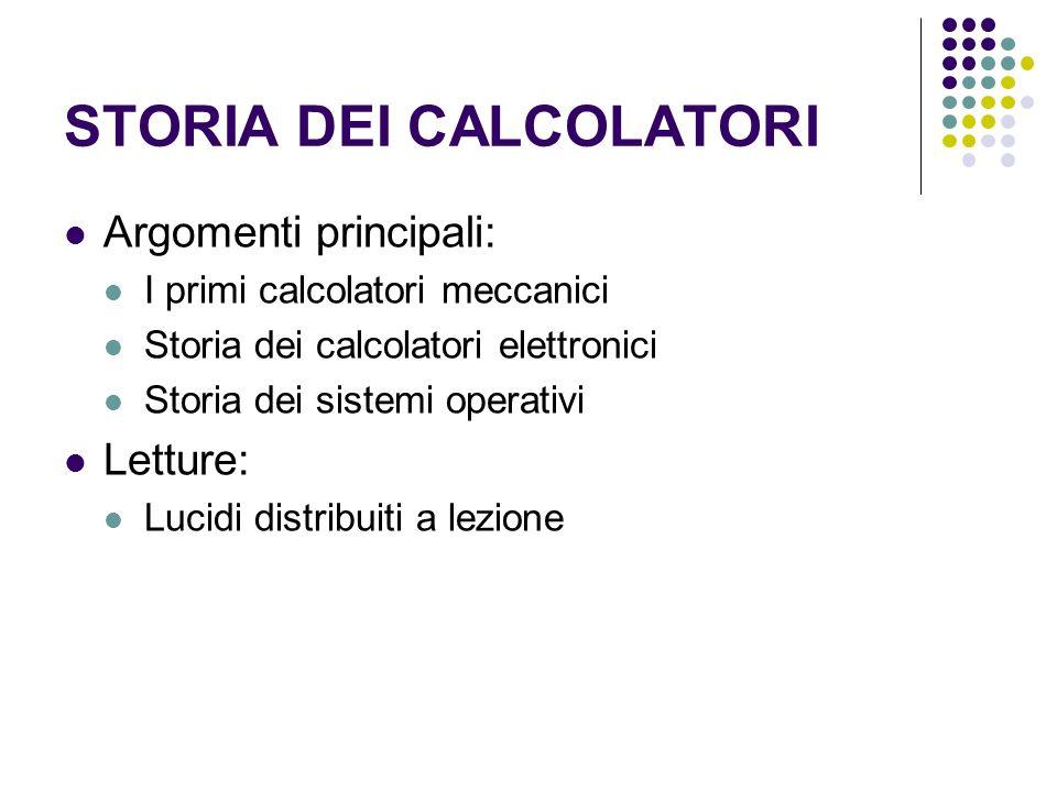 STORIA DEI CALCOLATORI Argomenti principali: I primi calcolatori meccanici Storia dei calcolatori elettronici Storia dei sistemi operativi Letture: Lu