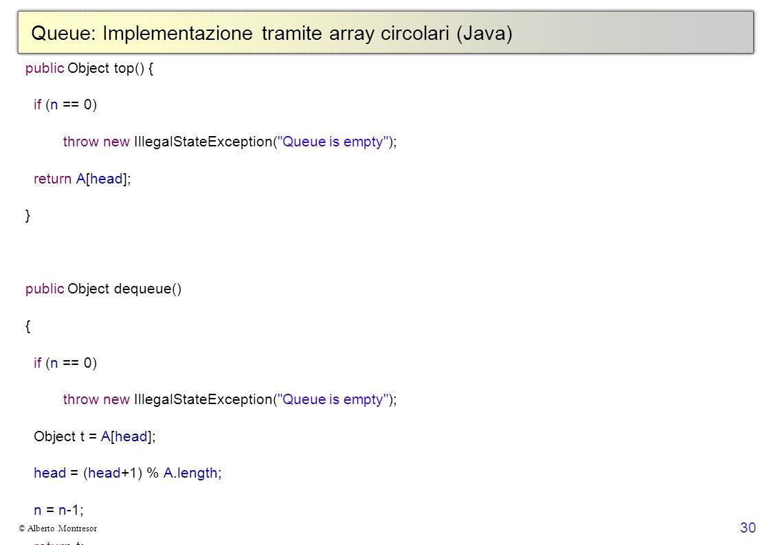 30 © Alberto Montresor Queue: Implementazione tramite array circolari (Java) public Object top() { if (n == 0) throw new IllegalStateException( Queue is empty ); return A[head]; } public Object dequeue() { if (n == 0) throw new IllegalStateException( Queue is empty ); Object t = A[head]; head = (head+1) % A.length; n = n-1; return t; } public void enqueue(Object v) { if (n == A.length) throw new IllegalStateException( Queue is full ); A[(head+n) % A.length] = v; n = n+1; }