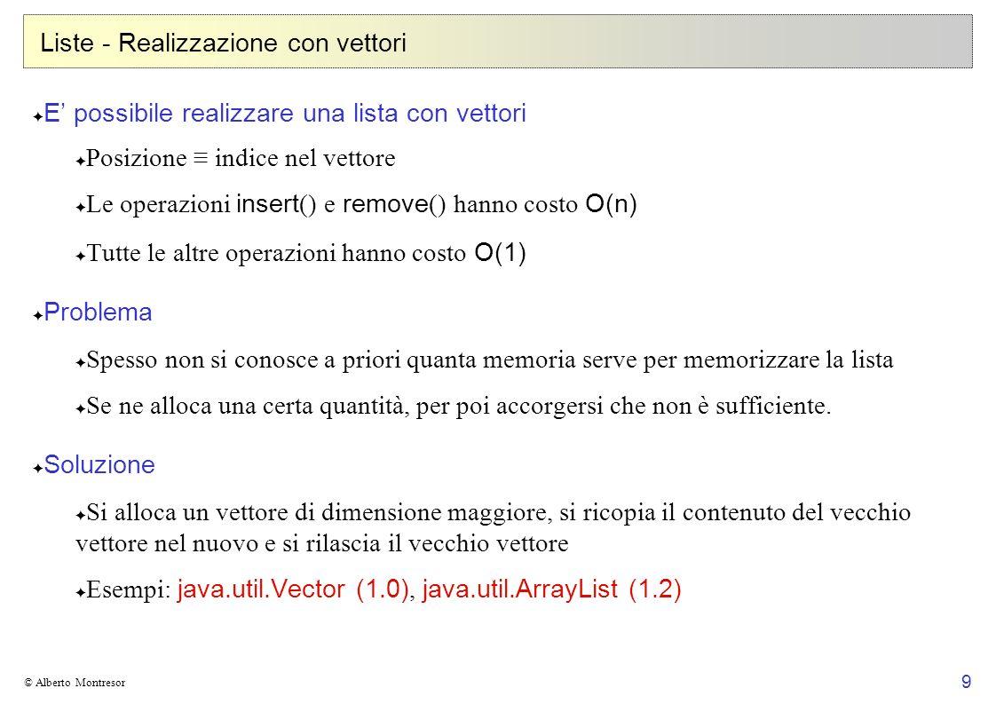20 © Alberto Montresor Stack Reverse Polish Notation (PNG), o notazione postfissa Espressioni aritmetiche in cui gli operatori seguono gli operandi Definita dalla grammatica: ::= | Esempi: (7 + 3) × 5si traduce in 7 3 + 5 × 7 + (3 × 5)si traduce in 7 3 5 × + Valutazione PNG, stack based (esempio: Java bytecode) push 77 push 33 7 push 55 3 7 op.