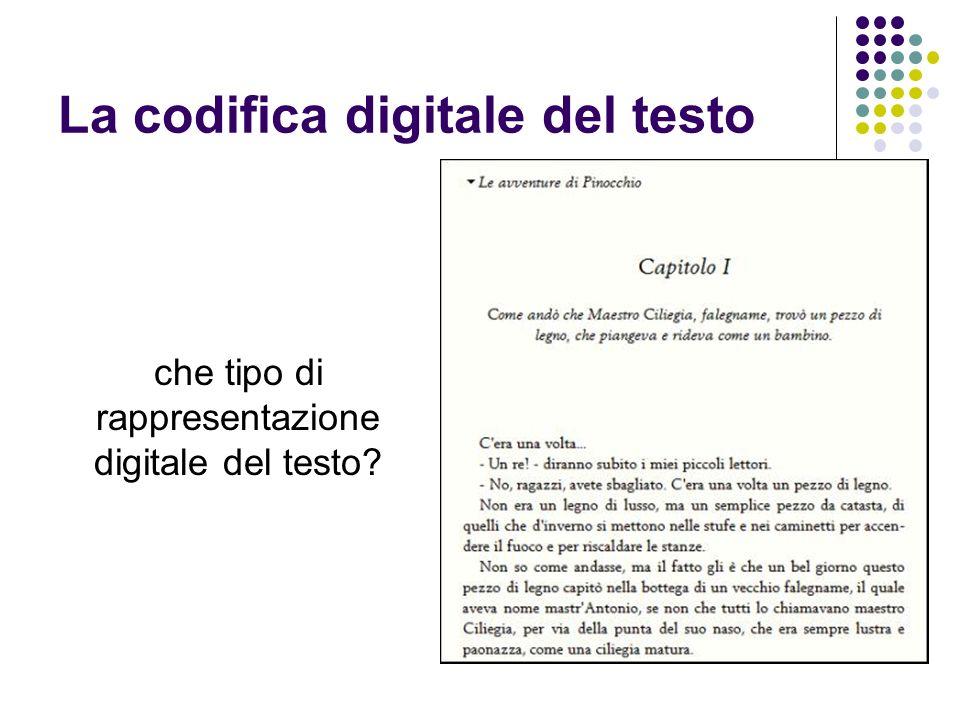La codifica digitale del testo che tipo di rappresentazione digitale del testo?