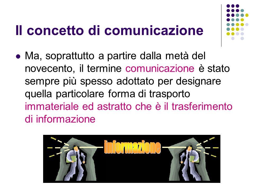 Il concetto di comunicazione Ma, soprattutto a partire dalla metà del novecento, il termine comunicazione è stato sempre più spesso adottato per desig