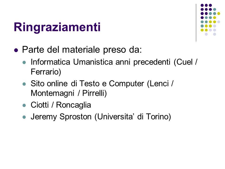 Ringraziamenti Parte del materiale preso da: Informatica Umanistica anni precedenti (Cuel / Ferrario) Sito online di Testo e Computer (Lenci / Montema