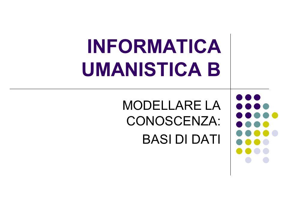 INFORMATICA UMANISTICA B MODELLARE LA CONOSCENZA: BASI DI DATI