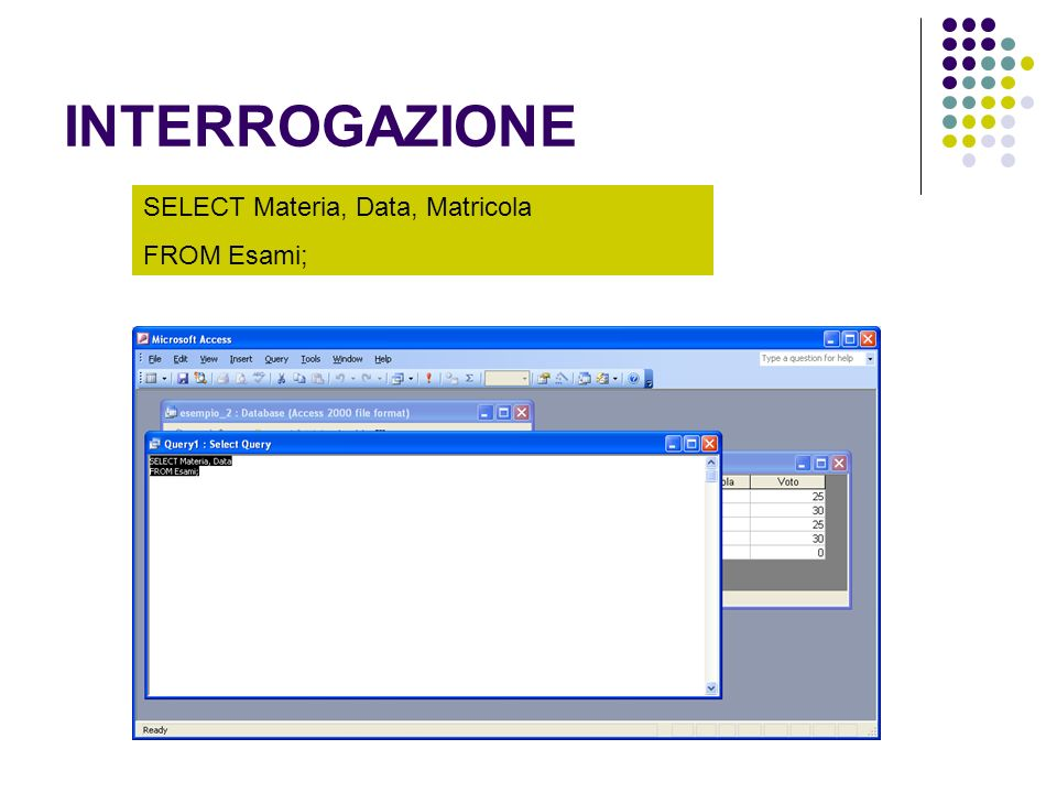 INTERROGAZIONE SELECT Materia, Data, Matricola FROM Esami;