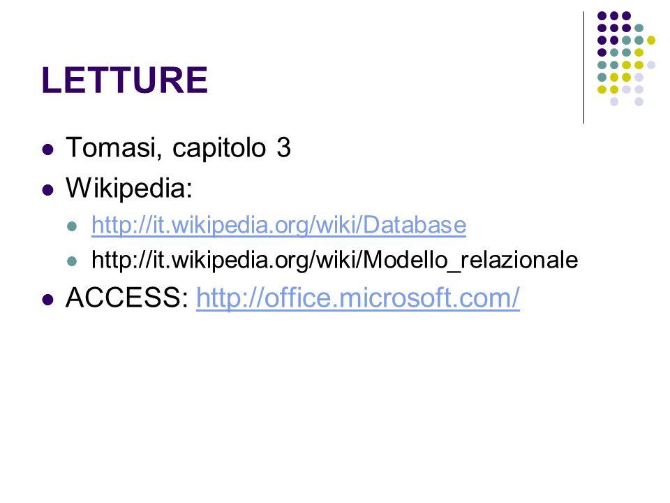 LETTURE Tomasi, capitolo 3 Wikipedia: http://it.wikipedia.org/wiki/Database http://it.wikipedia.org/wiki/Modello_relazionale ACCESS: http://office.mic