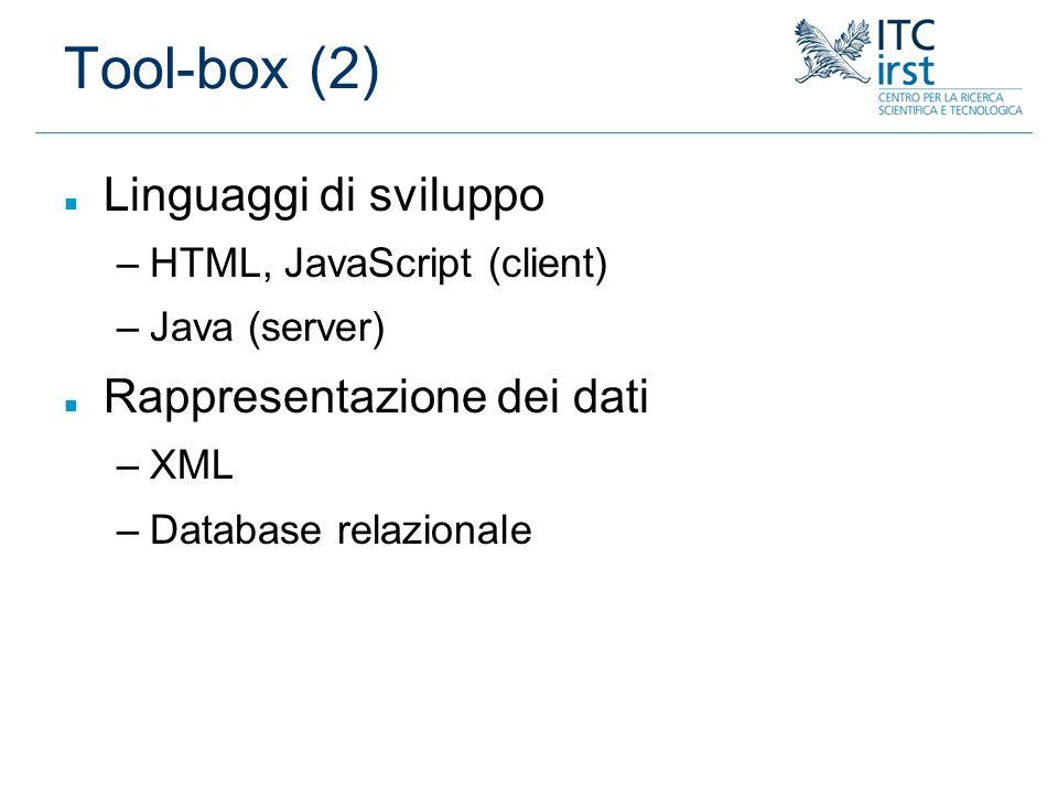 Tool-box (2) n Linguaggi di sviluppo –HTML, JavaScript (client) –Java (server) n Rappresentazione dei dati –XML –Database relazionale