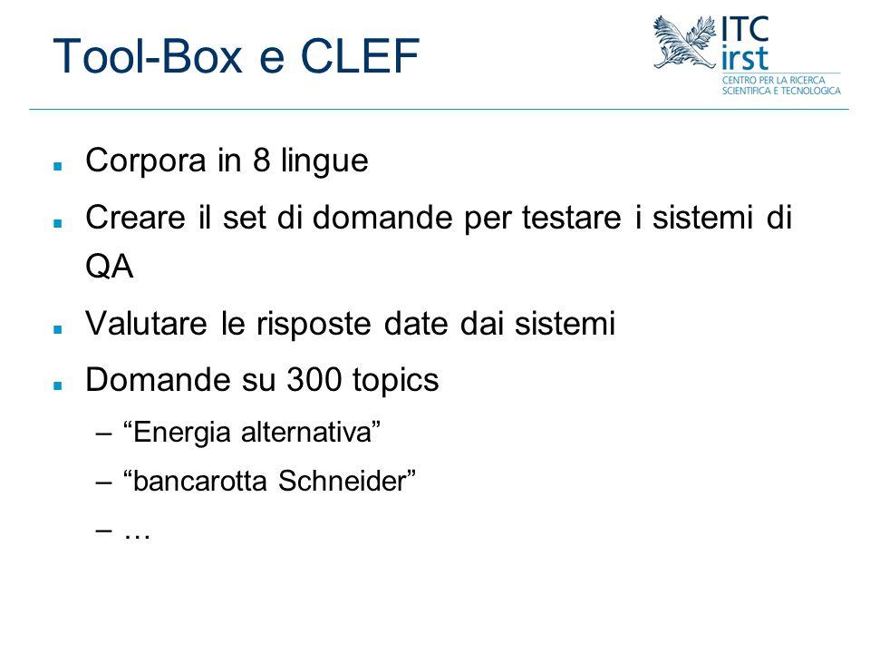Tool-Box e CLEF n Corpora in 8 lingue n Creare il set di domande per testare i sistemi di QA n Valutare le risposte date dai sistemi n Domande su 300
