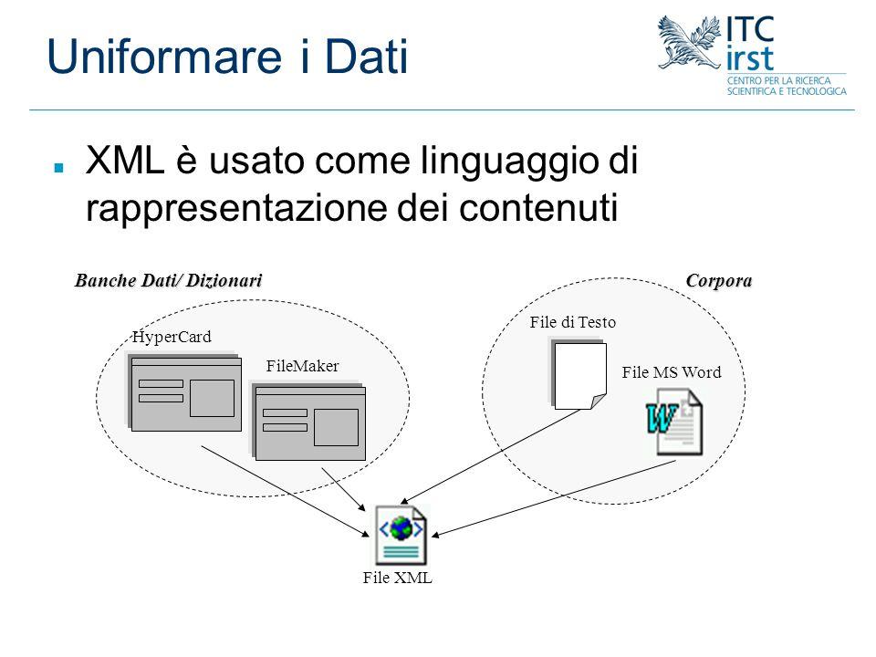 Uniformare i Dati File di Testo File MS WordCorpora HyperCard Banche Dati/ Dizionari File XML n XML è usato come linguaggio di rappresentazione dei co