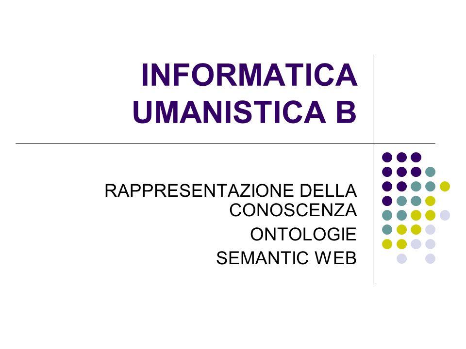 INFORMATICA UMANISTICA B RAPPRESENTAZIONE DELLA CONOSCENZA ONTOLOGIE SEMANTIC WEB