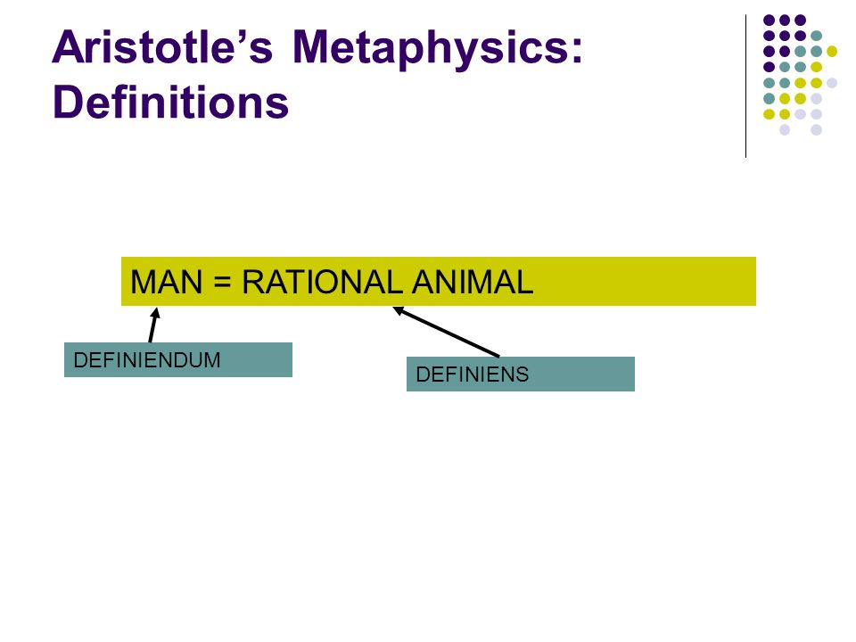 Aristotles Metaphysics: Definitions MAN = RATIONAL ANIMAL DEFINIENDUM DEFINIENS