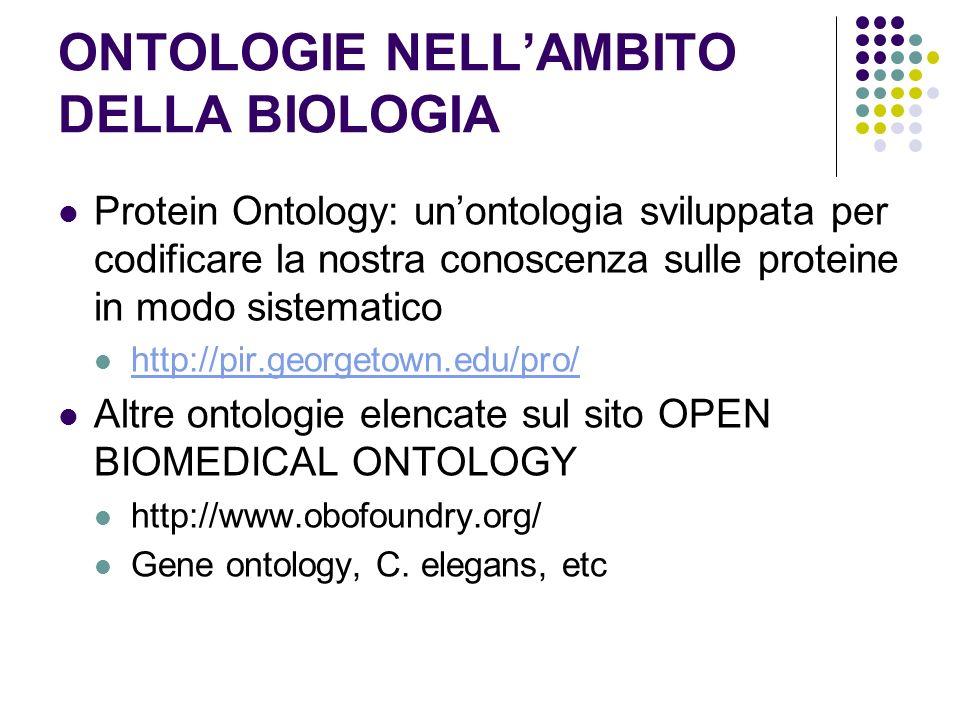 ONTOLOGIE NELLAMBITO DELLA BIOLOGIA Protein Ontology: unontologia sviluppata per codificare la nostra conoscenza sulle proteine in modo sistematico ht