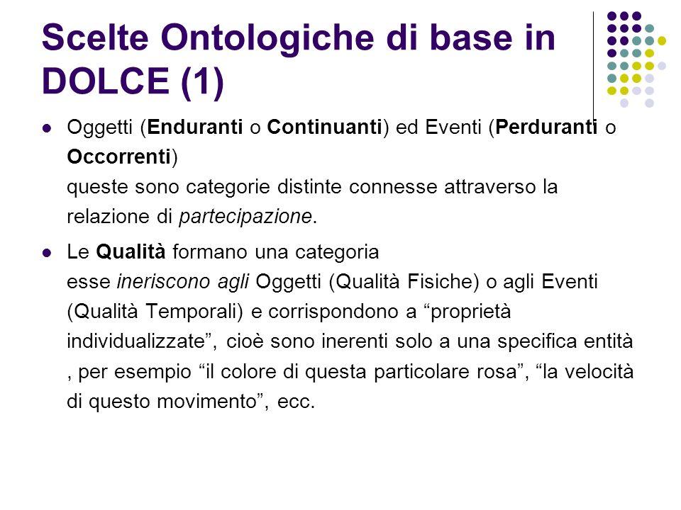 Scelte Ontologiche di base in DOLCE (1) Oggetti (Enduranti o Continuanti) ed Eventi (Perduranti o Occorrenti) queste sono categorie distinte connesse