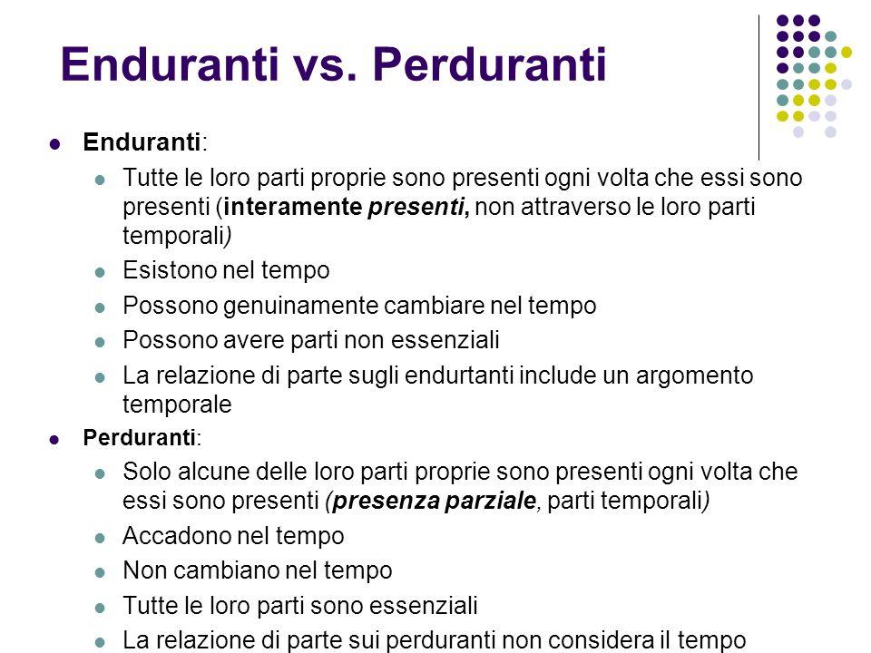 Enduranti vs. Perduranti Enduranti: Tutte le loro parti proprie sono presenti ogni volta che essi sono presenti (interamente presenti, non attraverso