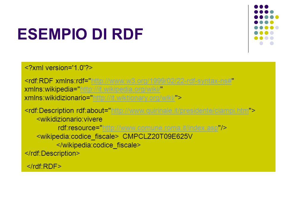 ESEMPIO DI RDF http://www.w3.org/1999/02/22-rdf-syntax-ns#http://it.wikipedia.org/wiki/http://it.wiktionary.org/wiki/ CMPCLZ20T09E625V http://www.quir