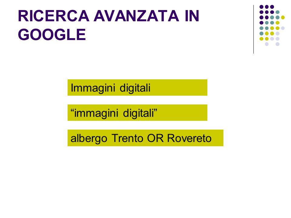RICERCA AVANZATA IN GOOGLE Immagini digitali immagini digitali albergo Trento OR Rovereto