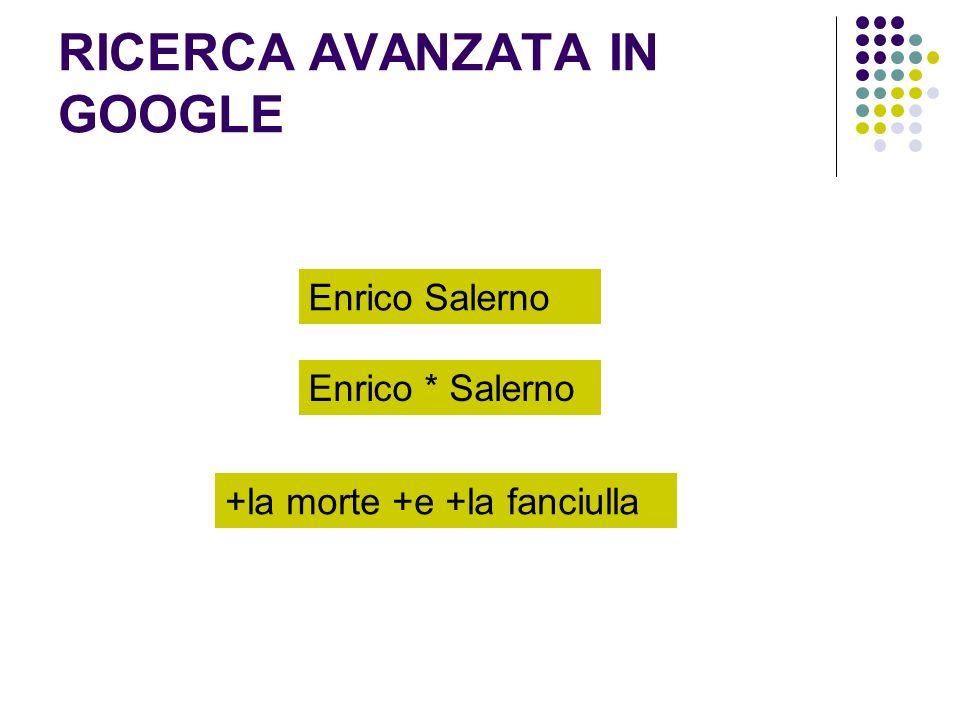 RICERCA AVANZATA IN GOOGLE Enrico Salerno +la morte +e +la fanciulla Enrico * Salerno