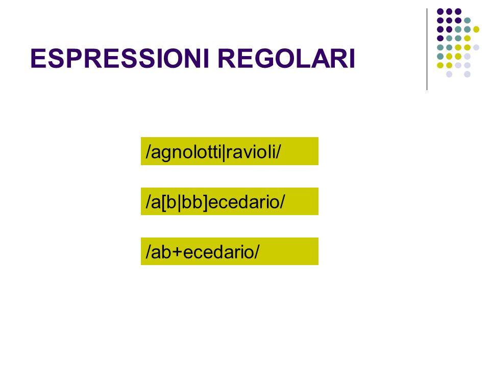 ESPRESSIONI REGOLARI /agnolotti ravioli/ /a[b bb]ecedario/ /ab+ecedario/