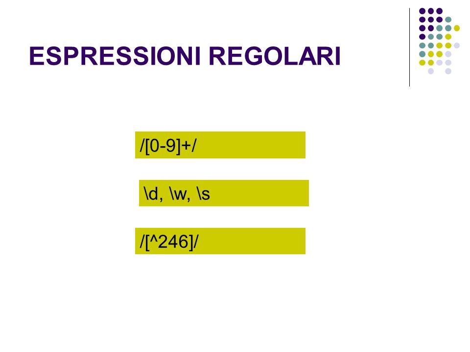 ESPRESSIONI REGOLARI /[0-9]+/ \d, \w, \s /[^246]/
