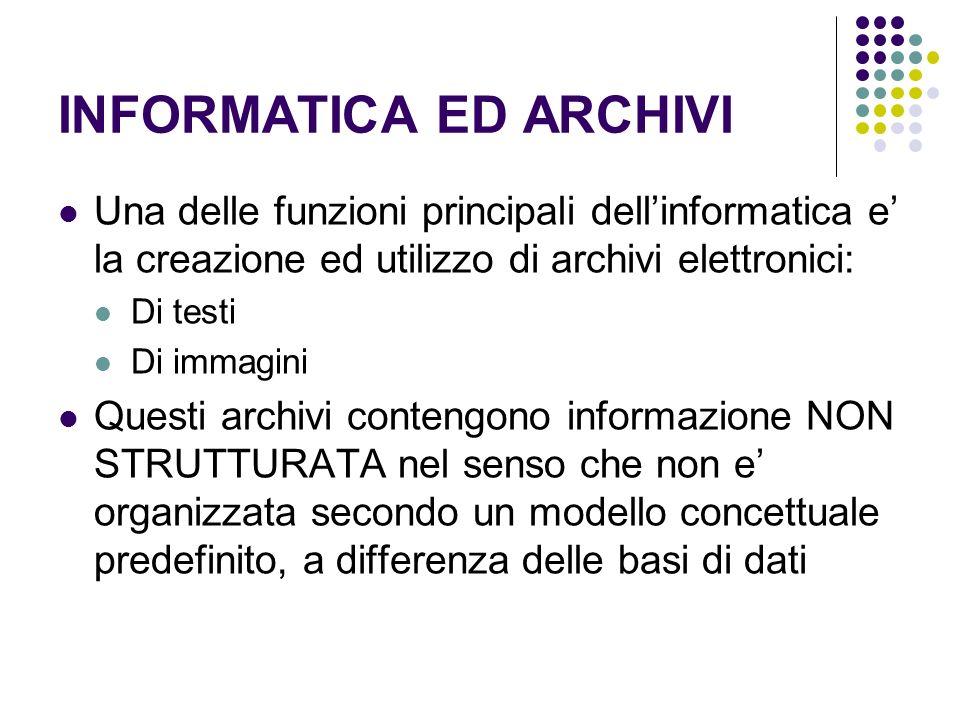INFORMATICA ED ARCHIVI Una delle funzioni principali dellinformatica e la creazione ed utilizzo di archivi elettronici: Di testi Di immagini Questi ar