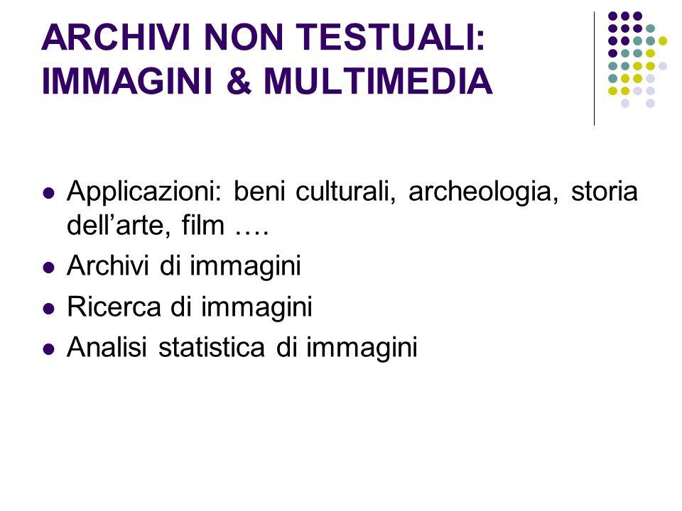 ARCHIVI NON TESTUALI: IMMAGINI & MULTIMEDIA Applicazioni: beni culturali, archeologia, storia dellarte, film …. Archivi di immagini Ricerca di immagin