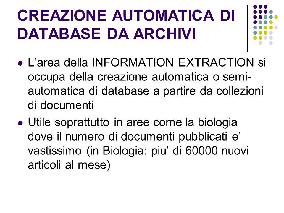 CREAZIONE AUTOMATICA DI DATABASE DA ARCHIVI Larea della INFORMATION EXTRACTION si occupa della creazione automatica o semi- automatica di database a p