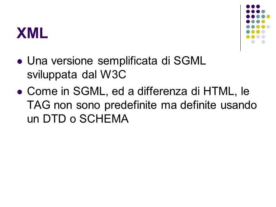 XML Una versione semplificata di SGML sviluppata dal W3C Come in SGML, ed a differenza di HTML, le TAG non sono predefinite ma definite usando un DTD o SCHEMA
