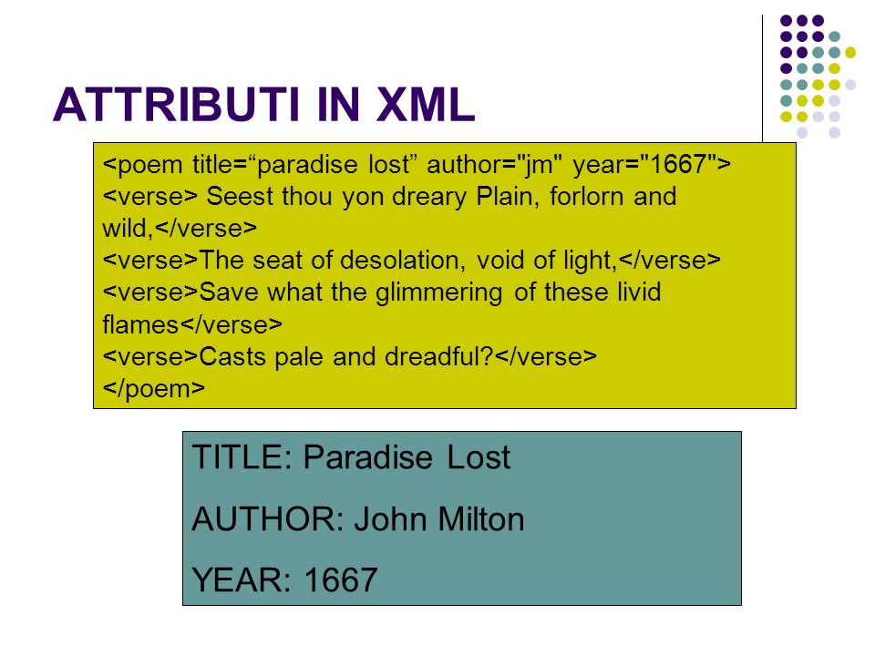 ATTRIBUTI IN XML TITLE: Paradise Lost AUTHOR: John Milton YEAR: 1667 Seest thou yon dreary Plain, forlorn and wild, The seat of desolation, void of li