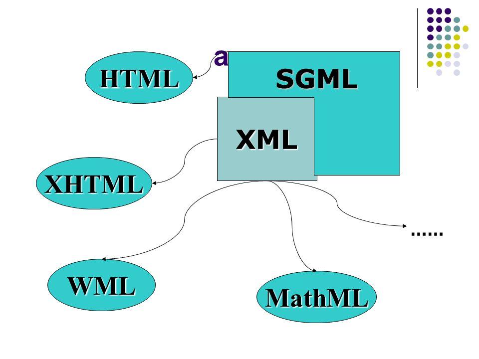 a XML SGML HTML XHTML WML MathML ……