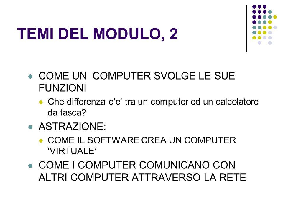 TEMI DEL MODULO, 2 COME UN COMPUTER SVOLGE LE SUE FUNZIONI Che differenza ce tra un computer ed un calcolatore da tasca.