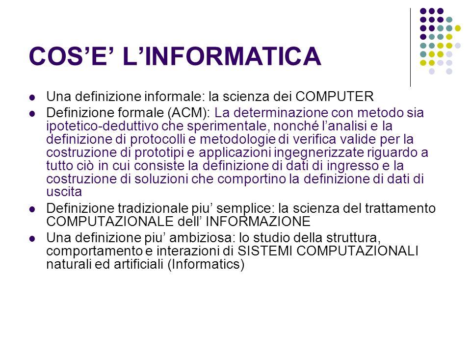 IL COMPUTER COME ELABORATORE DI INFORMAZIONE Il computer e un AUTOMA che permette di IMMAGAZZINARE informazione MODIFICARLA Usare questi dati per eseguire funzioni piu o meno complesse (per esempio, calcolare le tasse che Massimo Poesio deve pagare / riconoscere la targa di unauto che ha violato il limite di velocita / riconoscere chi ha scritto un certo documento) TRASMETTERLA ad altri computer via RETE (per esempio, via email) CERCARE linformazione che ci interessa (sul proprio computer o sulla rete)