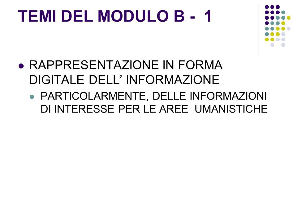 TEMI DEL MODULO B - 1 RAPPRESENTAZIONE IN FORMA DIGITALE DELL INFORMAZIONE PARTICOLARMENTE, DELLE INFORMAZIONI DI INTERESSE PER LE AREE UMANISTICHE