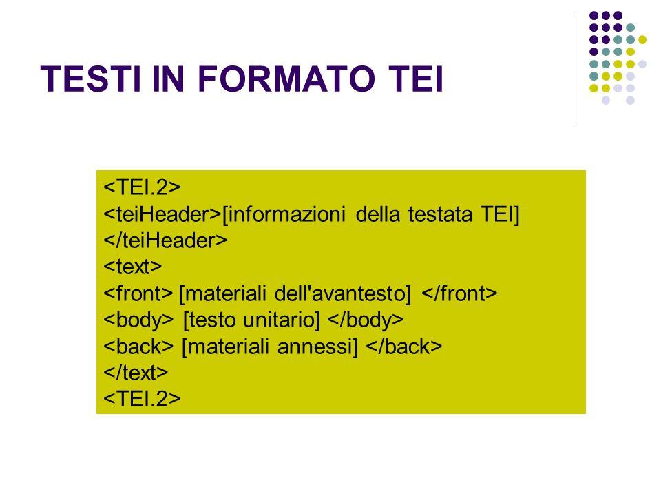 TESTI IN FORMATO TEI [informazioni della testata TEI] [materiali dell'avantesto] [testo unitario] [materiali annessi]